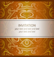 invitation card in orange and gold with ornaments vector image vector image