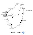island of naxos in greece map on white background vector image vector image