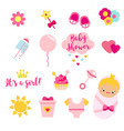 it s a girl set in pink colors rattle herat vector image vector image