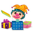 jack in box with funny clown head popping out vector image