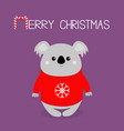 merry christmas candy cane koala in red ugly vector image vector image