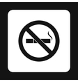No smoking sign icon simple style vector image