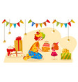 party clown gives birthday cake to happy girl vector image vector image
