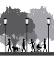 people silhouette walk lifestyle park lamppost vector image vector image