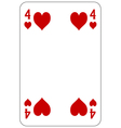 Poker playing card 4 heart vector image vector image