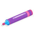 purple felt-tip pen icon isometric style vector image vector image