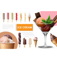 realistic ice cream collection vector image vector image