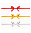red gold silver color bow knot and ribbon vector image vector image