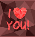 red valentines heart and i love you text on brown vector image