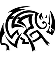 rhino in tribal style vector image vector image