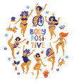 round body positive banner with dancing girls vector image vector image