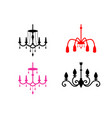 set chandelier icons in silhouette style vector image vector image