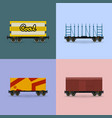 set of freight rail transport vector image vector image