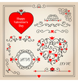 set with floral hearts and decorative elements vector image