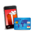 smart phone and credit card vector image vector image