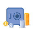 strongbox with coins euro and dollar money vector image vector image
