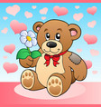 teddy bear with flower and hearts vector image