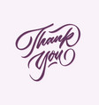 thank you hand lettering typography card poster vector image