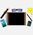top view on the desk with various accessories and vector image