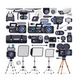 videographer equipment icons in flat style vector image vector image