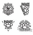 vintage badass logo design vector image vector image