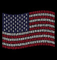 waving united states flag stylization of cemetery vector image vector image