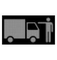 white halftone truck customer icon vector image