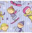 Winter sports cartoon sportsmen seamless pattern vector image vector image