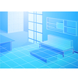 Wireframe blue living room vector image vector image