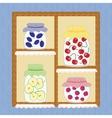 Winter Homemade Jelly Cherry Apple Strawberry Jam vector image