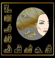 beautiful face of girl with golden hair and vector image