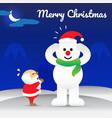 merry christmas - snowman wearing hat of santa vector image
