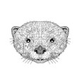 asian small clawed otter black and white mascot vector image