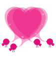 Birds with speech bubble heart vector image
