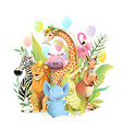 birthday animals party greeting card for kid event vector image