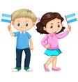 boy and girl holding nicaragua flag vector image vector image