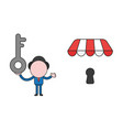 businessman character holding key and wih keyhole vector image vector image