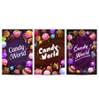 candy world posters set sweets background vector image vector image