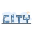 cartoon hand drawing building as alphabet city vector image
