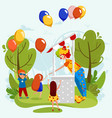 cheerful clown gives party balloons to happy vector image vector image