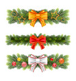 christmas garland from fir tree branches vector image