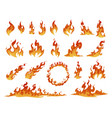 collection red and orange cartoon fire flame vector image