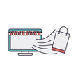computer screen with tent and shopping bag vector image vector image