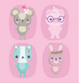 cute animals little mouses pig with glasses cat vector image