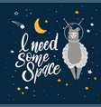cute cartoon print with llama in space hand vector image vector image