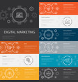 digital marketing infographic 10 line icons vector image vector image