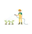 farmer watering plants icon vector image