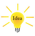 flat yellow lightbulb idea concept isolated vector image