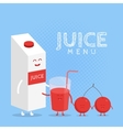 Funny cute cherry juice packaging and glass drawn vector image