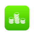 gold coins icon digital green vector image